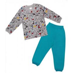 Пижама сингъл щампа в сиво-39319