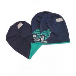 шапка с набор в синьо-7409