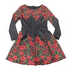 рокля с рози в черно-6436