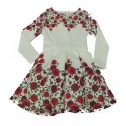 рокля с рози в бяло-6436