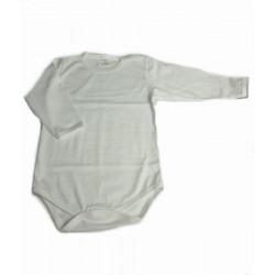 бяло боди сингъл с рамо закопчаване с дълъг ръкав-5141