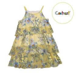 рокля шифон маргаритки в жълто-22170