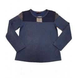 блузка с брокат и дантела в синьо-2933