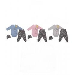 Бебешко бельо 3 части цветен памучен рипс лапички-39482