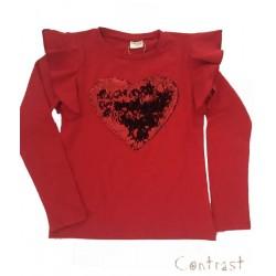 тънка блузка с червено сърце-99146