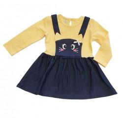 рокля Котенце жълто с дънково-11837