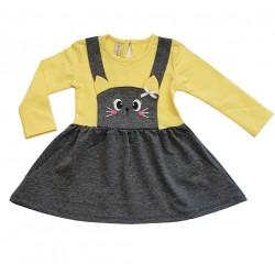 рокля Котенце жълто със сиво-11837