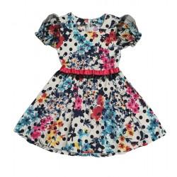 памучна рокля с точки и цветя-13221